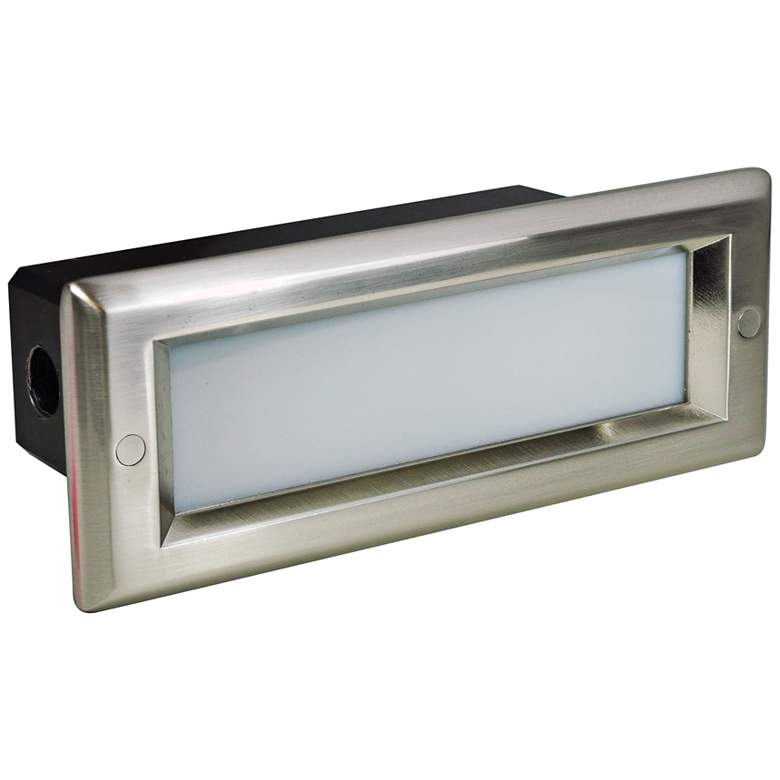 """Nora 8 3/4"""" Wide Nickel Lensed Dimmable LED Step/Brick Light"""