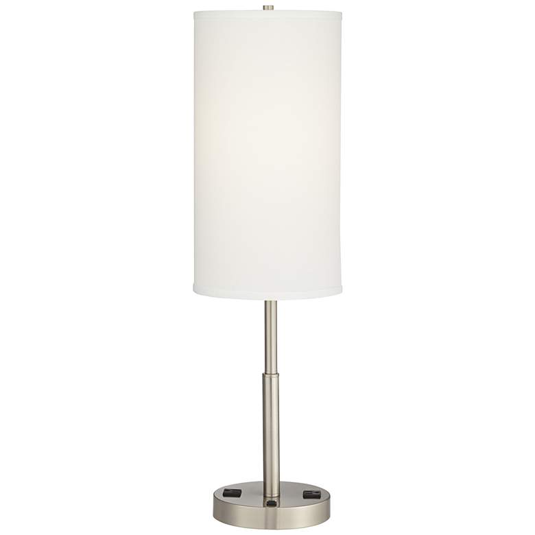 Aria Brushed Nickel Nightstand Table Lamp with Outlets ...