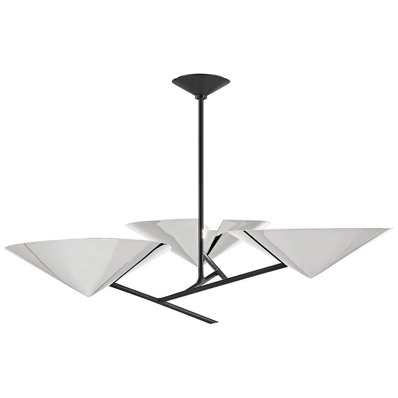 eEquilibrium 3-Light Black Chandelier with Polished Nickel Shade