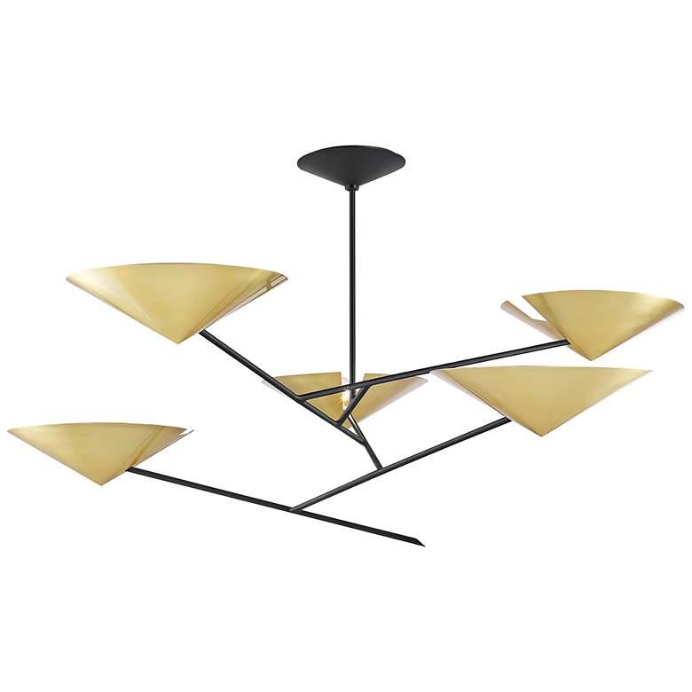 eEquilibrium 5-Light Black Chandelier with Aged Brass Shade