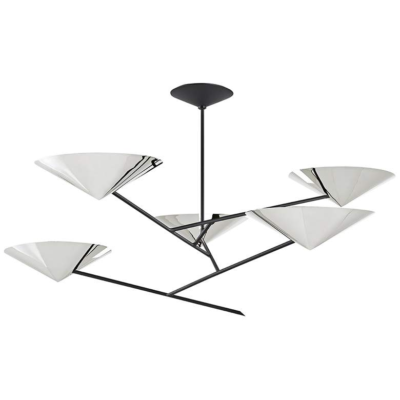 eEquilibrium 5-Light Black Chandelier with Polished Nickel Shade