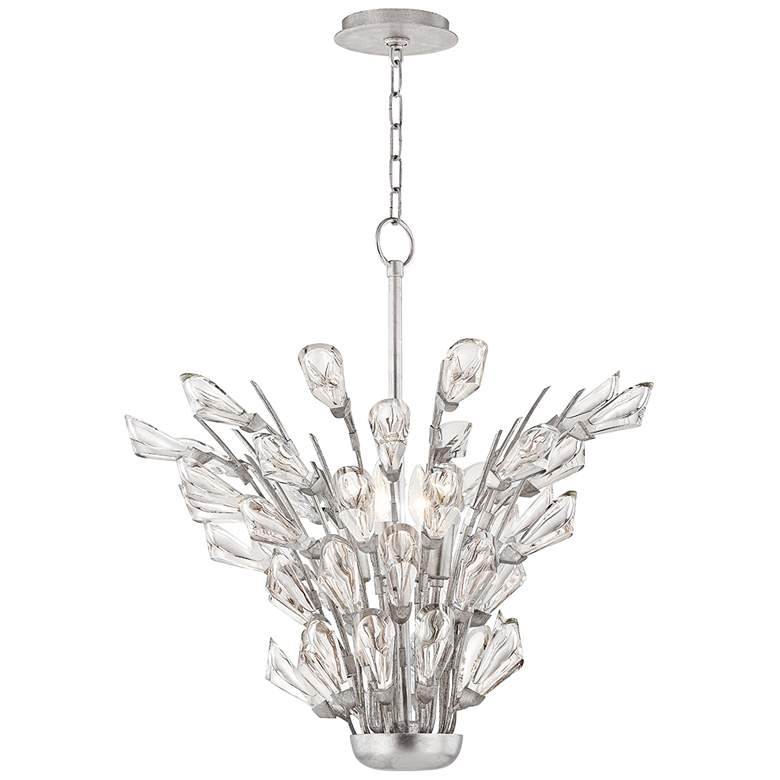 Hudson Valley eTulip 5-Light Silver Chandelier with Clear Shade