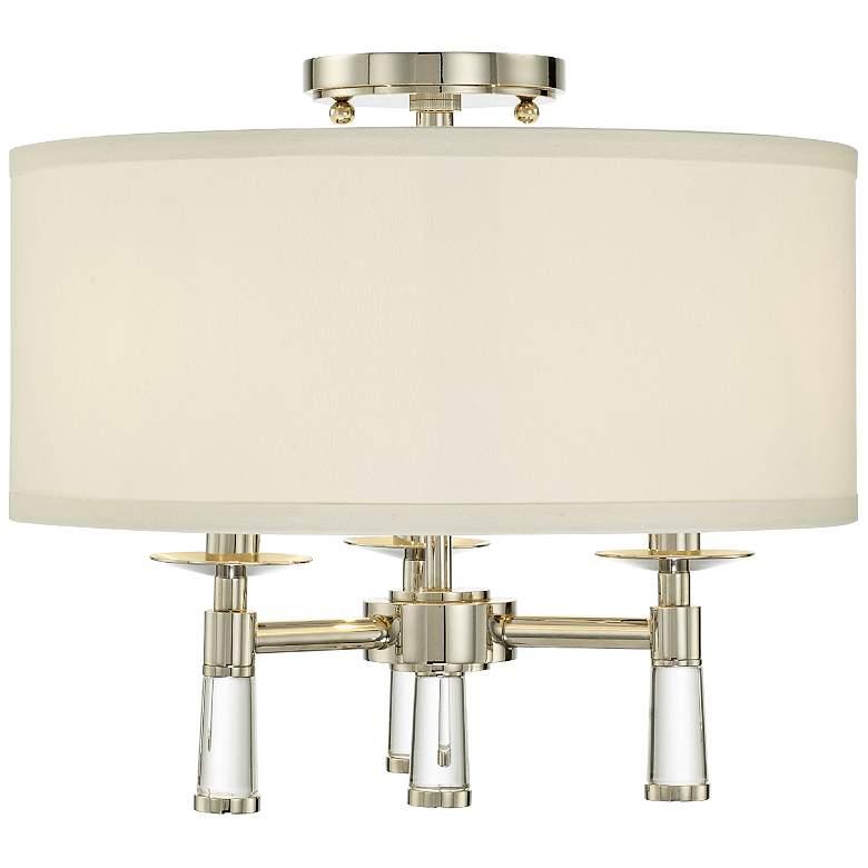 "Crystorama Baxter 16"" Wide Polished Nickel Ceiling Light"