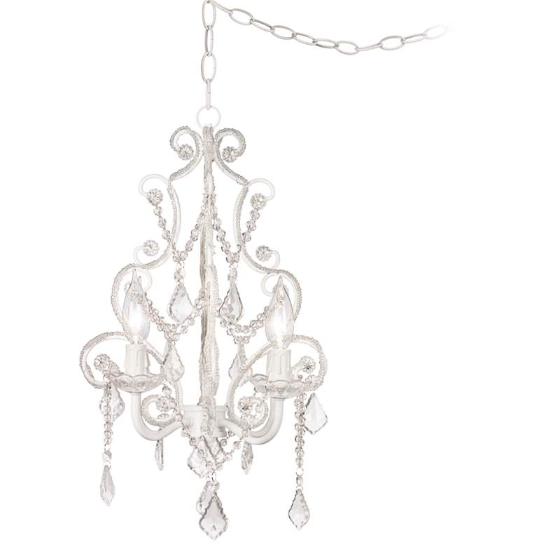 """Leila 11"""" Wide White Finish Beaded Plug-in Swag Chandelier"""