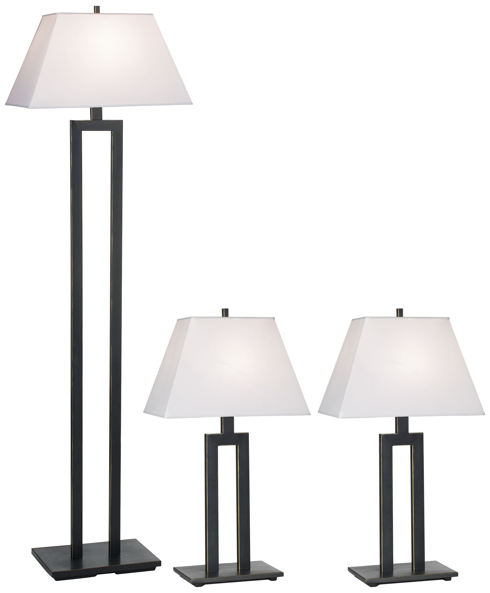 Exceptional Contemporary Trio Table And Floor Lamp Set