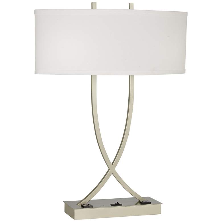 Camille Crossed Base Brushed Silver Finish Lamp with Convenience Outlets