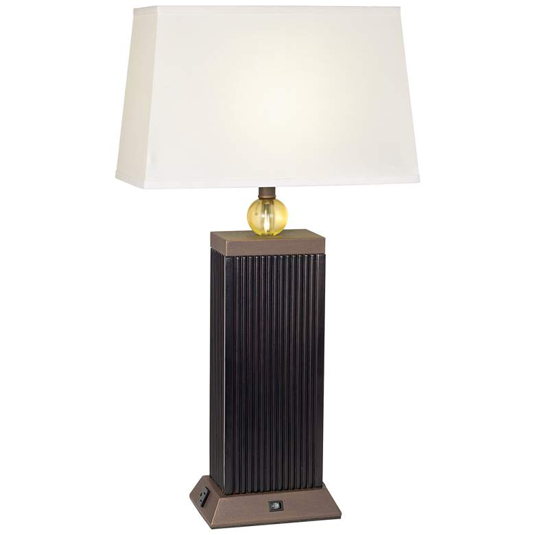 LeVar Espresso Table Lamp With Built In 3-Prong Electrical Outlets