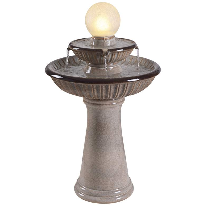 "Knight 26 1/2"" High Ivory Ceramic 2-Tier LED Floor Fountain"