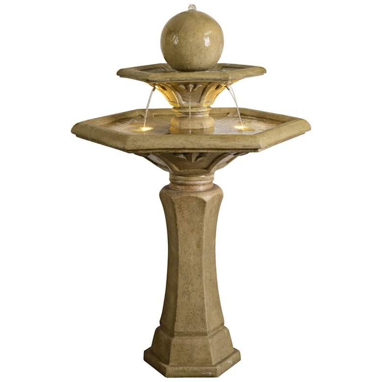 "Riviera 45 1/2""H Sandstone 2-Tier LED Outdoor Floor Fountain"