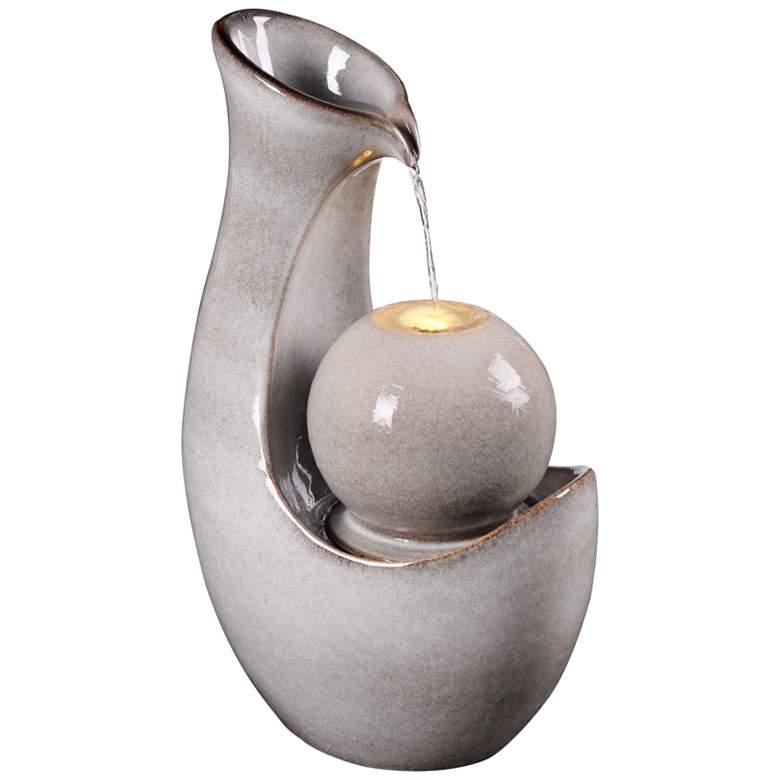 "Maria 31 1/2"" High Ivory Ceramic LED Floor Water Fountain"