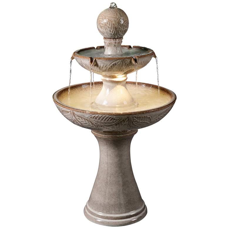 "Serene 38""H Ivory Ceramic 2-Tier LED Floor Water Fountain"