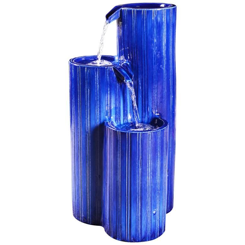 "Antiguo 30"" High Blue Ceramic Cascading Floor Fountain"