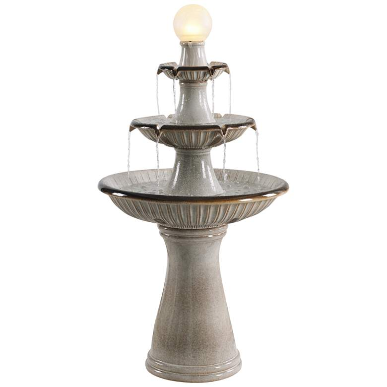 """Knight 45 1/4"""" High Ivory 3-Tier LED Floor Water Fountain"""