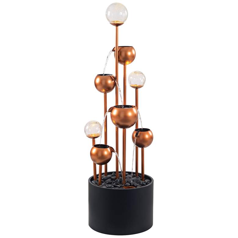 """Icarus 47 1/4""""H Copper and Black Cascading Floor Fountain"""