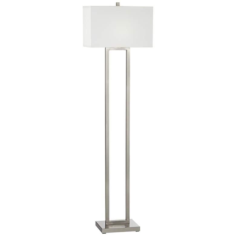 Everett Satin Nickel Open Column Floor Lamp