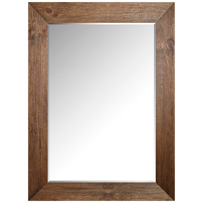 """Northwood Brown Pine Hand-Stained 34"""" x 46"""" Wood Wall Mirror"""
