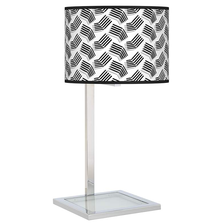 Abstract Angles Glass Inset Modern Table Lamp