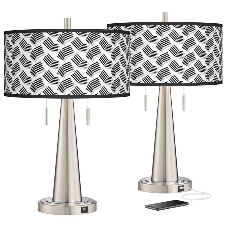 Abstract Angles Vicki Brushed Nickel USB Table Lamps