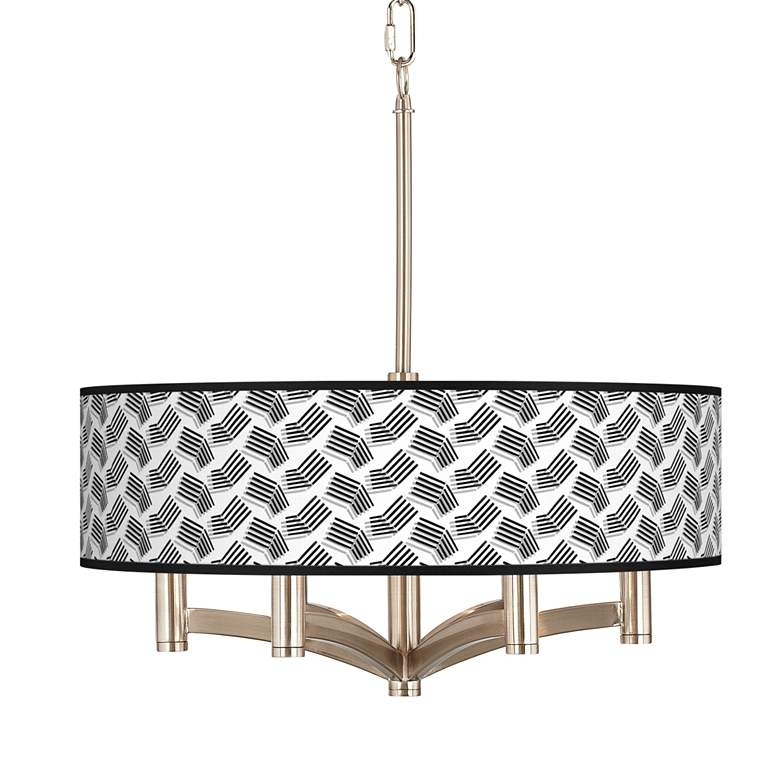 Abstract Angles Ava 6-Light Nickel Pendant Chandelier