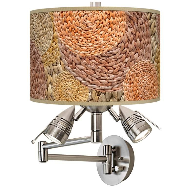 Rattan Circles Giclee Plug-In Swing Arm Wall Lamp