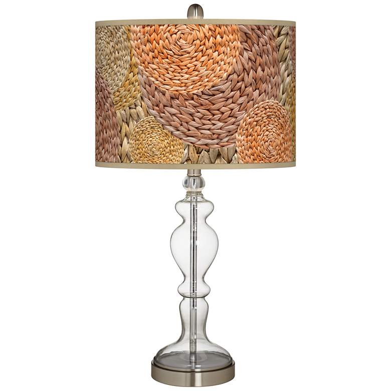Rattan Circles Print Giclee Apothecary Clear Glass Table Lamp