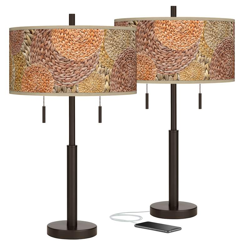 Rattan Circles Print Robbie Bronze USB Table Lamps Set of 2