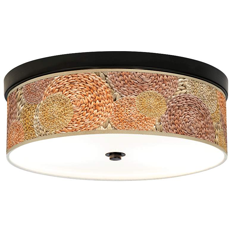 Rattan Circles Print Giclee Energy Efficient Bronze Ceiling Light