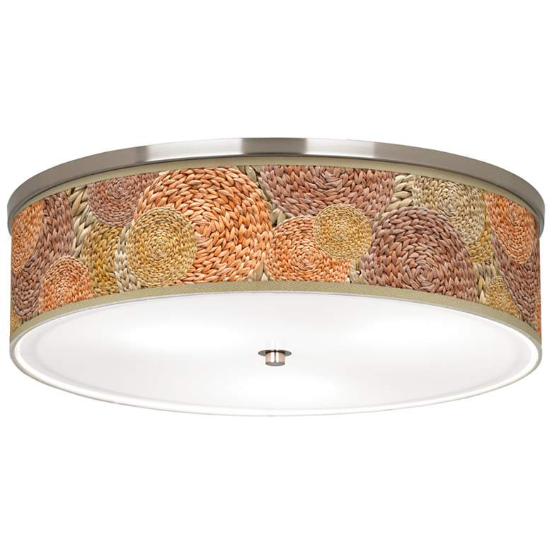 """Rattan Circles Giclee Nickel 20 1/4"""" Wide Ceiling Light"""