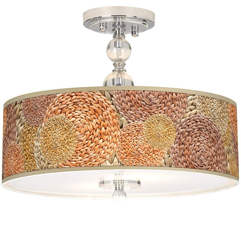 "Rattan Circles Print Giclee 16"" Wide Semi-Flush Ceiling Light"