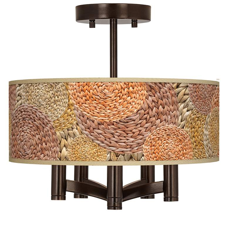 Rattan Circles Ava 5-Light Bronze Ceiling Light