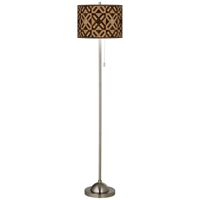 American Woodwork Brushed Nickel Pull Chain Floor Lamp
