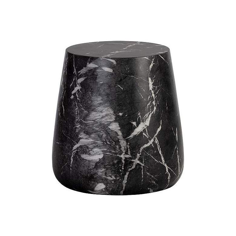 Aries Black Faux Marble Side Table