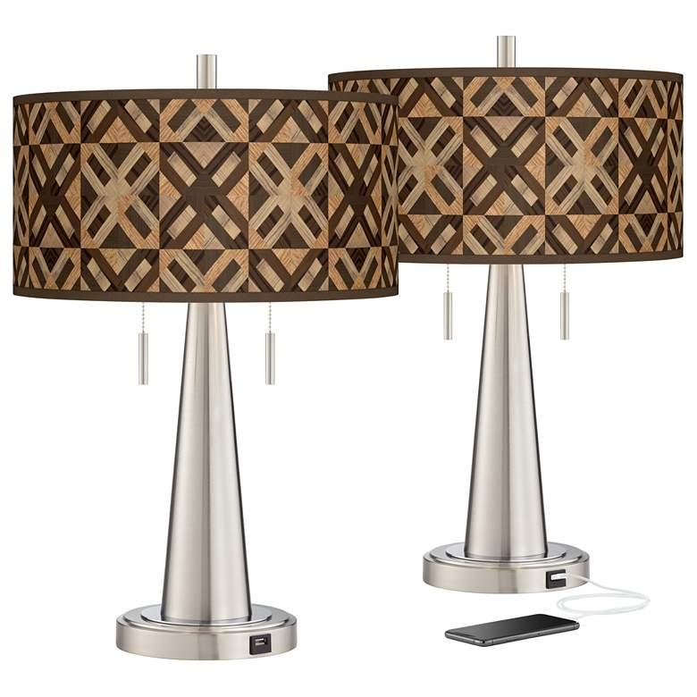 American Woodwork Vicki Brushed Nickel USB Table Lamps Set of 2