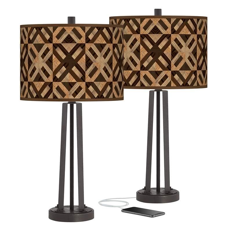 American Woodwork Susan Dark Bronze USB Table Lamps Set of 2