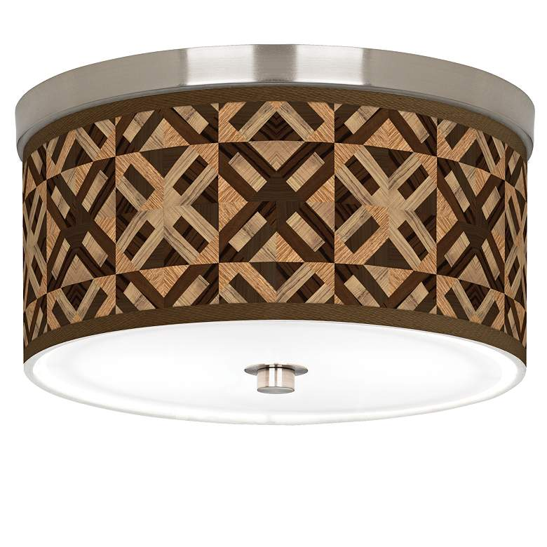 "American Woodwork Giclee Nickel 10 1/4"" Wide Ceiling Light"
