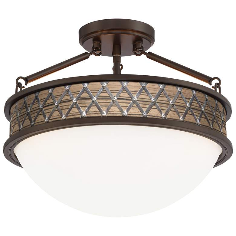 """Medieval Craftsman Banded 16""""W Oil-Rubbed Bronze Ceiling Light"""