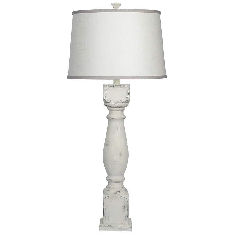 Hudson White Ivory Gray Shade Table Lamp