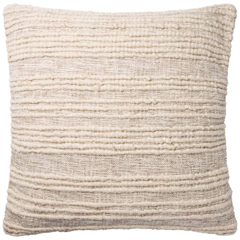 "Loloi Natural Stripe 22"" Square Throw Pillow"