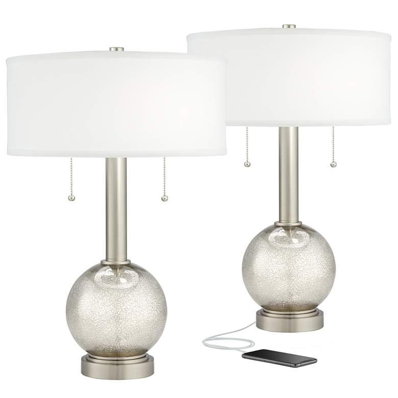 Possini Euro Allen Mercury Glass USB Table Lamps Set of 2