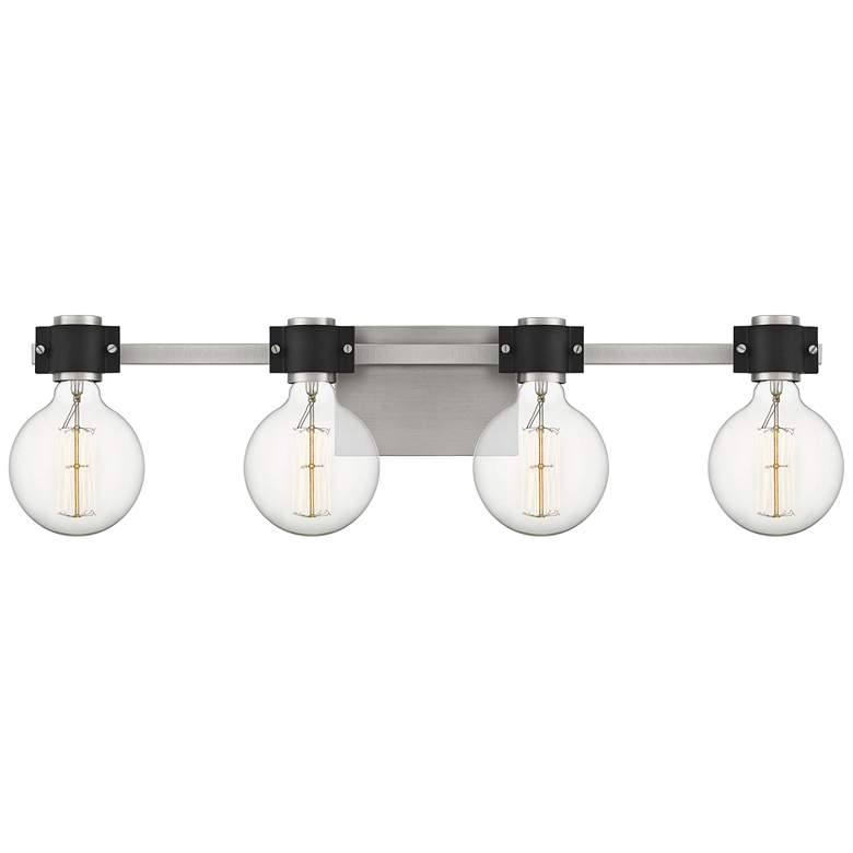 "Quoizel Curie 30 1/2""W Nickel and Black 4-Light Bath Light"