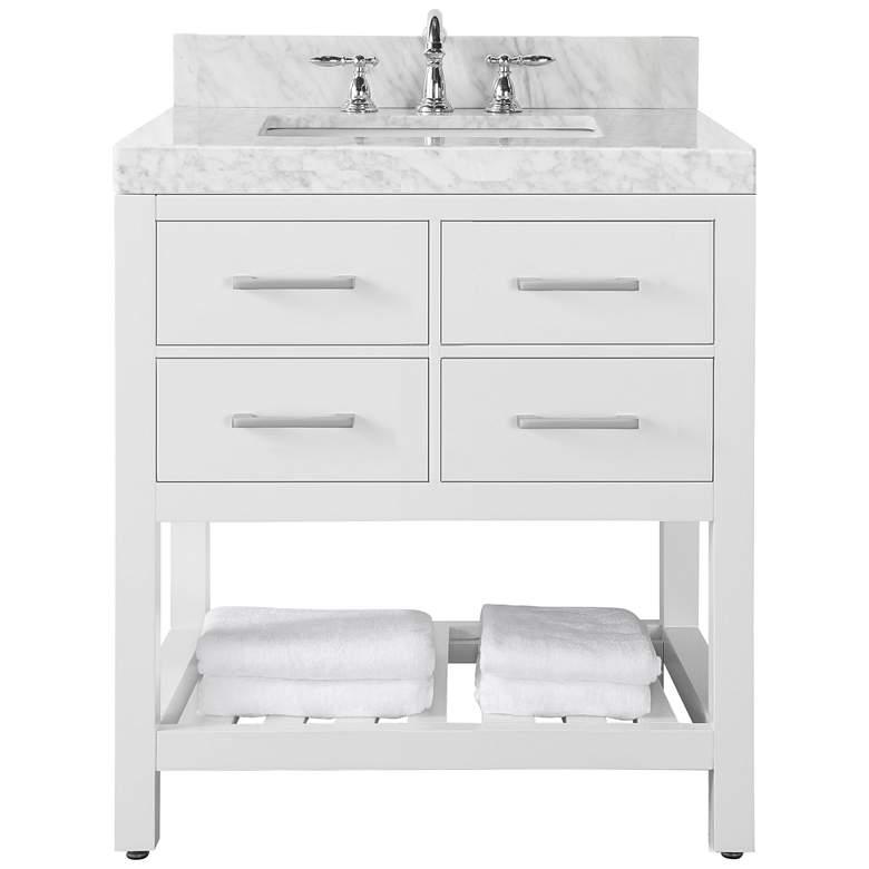 """Elizabeth 36"""" Wide Single Sink White Marble Vanity"""