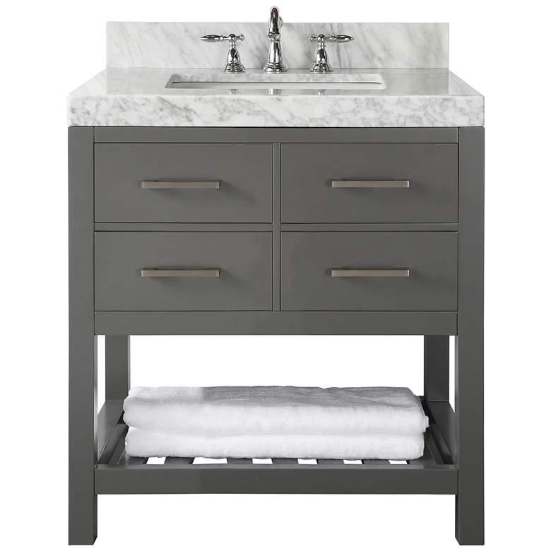 """Elizabeth 36"""" Wide Single Sink Gray Marble Vanity"""