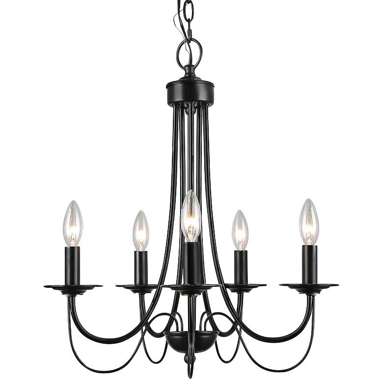 "Zico 18 1/2"" Wide Black 5-Light Candle Chandelier"