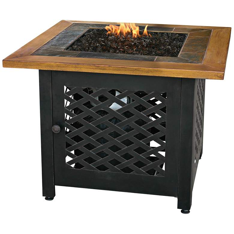"""Slate and Faux Wood Mantel 32"""" Wide LP Gas Fire Pit"""