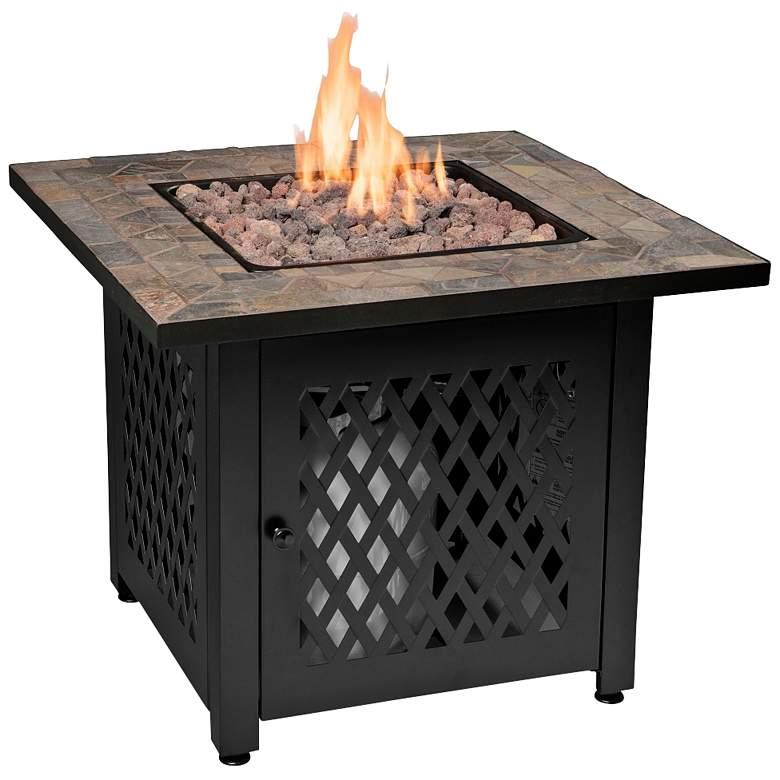 """Slate Tile Mantel 30"""" Wide LP Gas Fire Pit"""