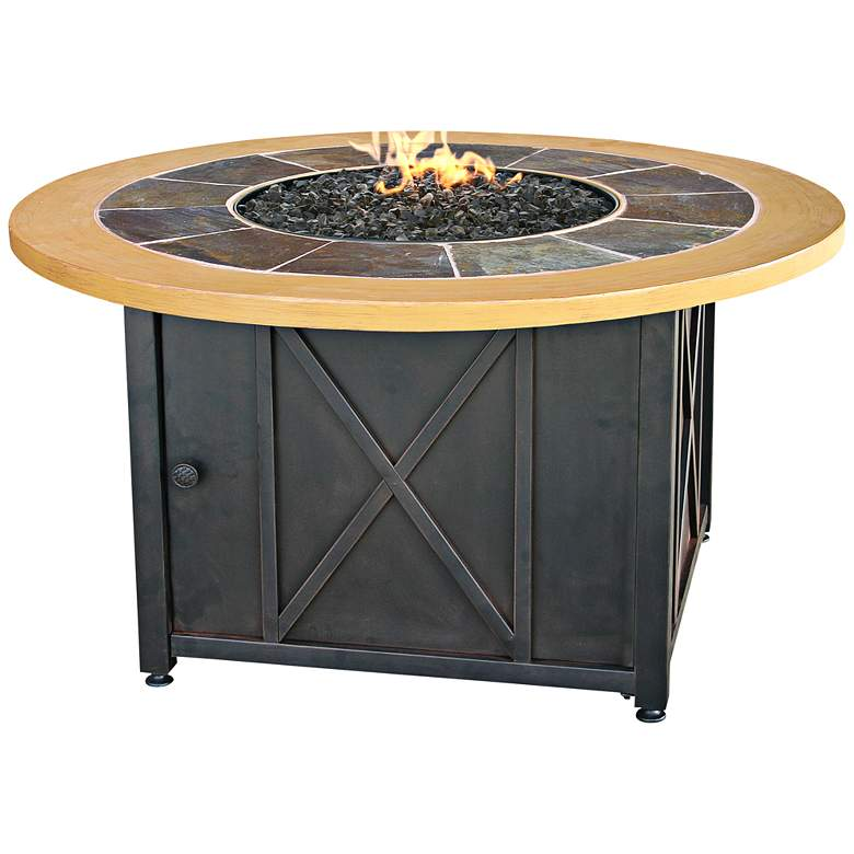 """Slate and Faux Wood Mantel 43"""" Wide LP Gas Fire Pit"""