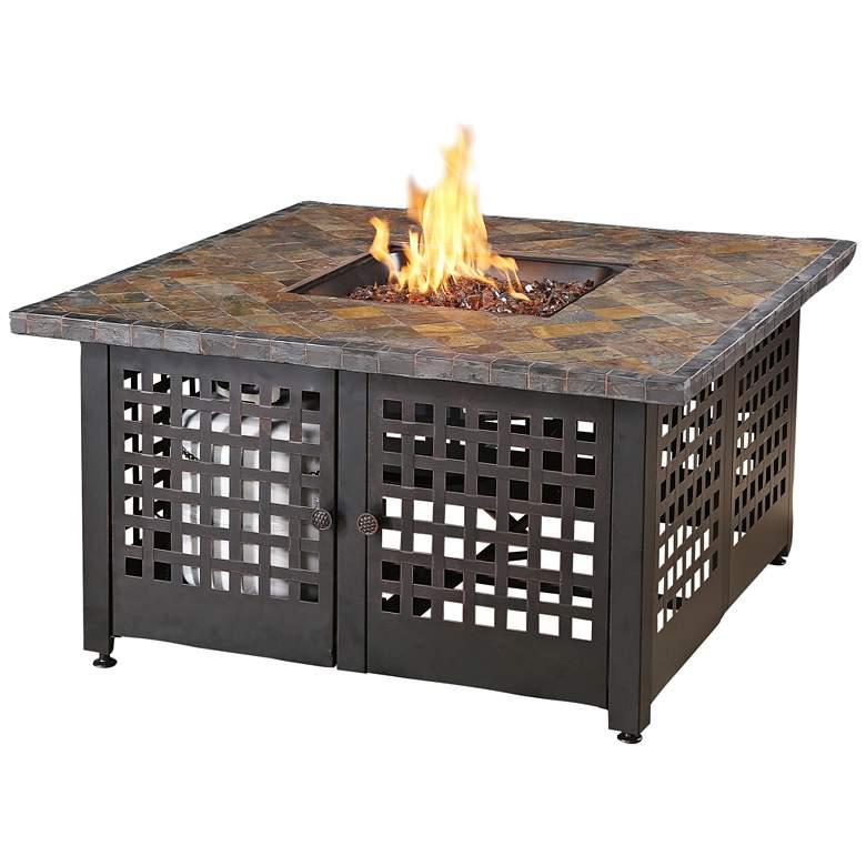 "Elizabeth Slate Tile and Marble Mantel 41 1/4""W LP Gas Fire Pit"
