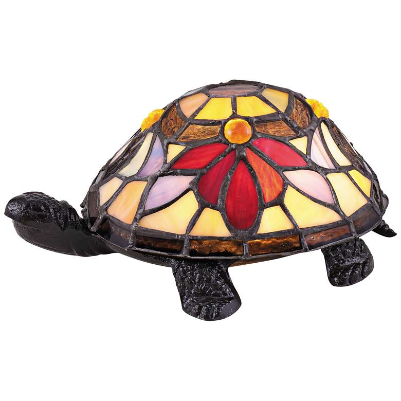"""Quoizel Rowan 3 1/2"""" High Turtle LED Tiffany-Style Accent Table Lamp"""