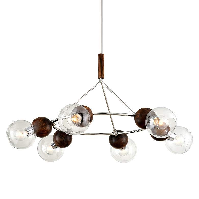 """Arlo 46""""W Stainless Steel and Natural Acacia 6-Light Pendant"""