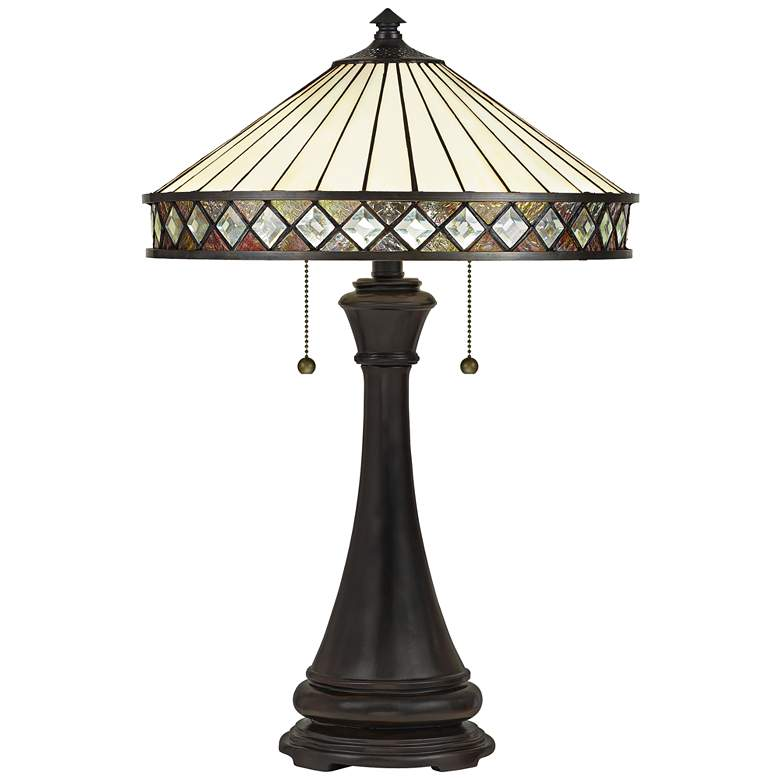 Quoizel Bowing Bronze and Art Glass Tiffany-Style Table Lamp